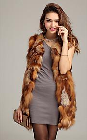 gilet de fourrure avec manches col en fourrure de renard parti / veste décontractée