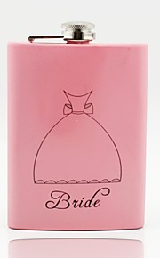Gift Groomsman /Bridesmaid Personalized Pink Stainless Steel 8-oz Flask Bride