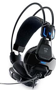 e-3lue 707 hodetelefoner 3.5mm usb blått lys gaming med mikrofon for pc