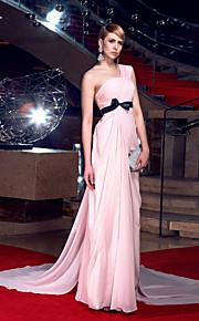 Formal Evening Dress - Blushing Pink Plus Sizes A-line One Shoulder Chapel Train Chiffon