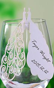 cartes de place et les détenteurs découpé au laser carte paon place pour un verre de vin - un ensemble de 12
