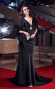 Formal Evening Dress - Black Trumpet/Mermaid V-neck Sweep/Brush Train Stretch Satin