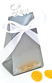 "Silver ""Love"" Favor Box With White Ribbons (Set of 12)"