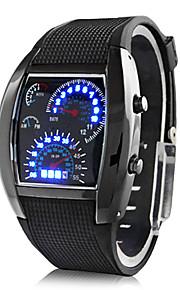Digitale LED-Herren Armbanduhr mit Gummi Band (schwarz)