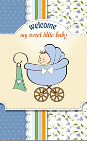 Personalized Little Boy in Pram Double Side Baby Shower Cards - Set of 12