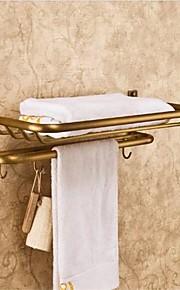 걸이를 가진 고대 청동 마감 황동 재질 고정 된 욕실 선반