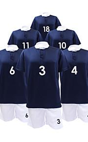manches courtes costume masculin de soccer de bleu foncé et blanc