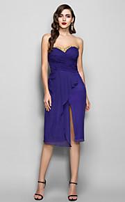 Homecoming Cocktail Party/Holiday Dress - Regency Plus Sizes Sheath/Column Sweetheart Knee-length Chiffon