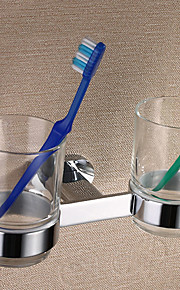 """Silver Brass Wall-mounted Double Cups Toothbrush Holder,8"""" x 4"""" x 4"""""""