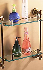Antik aluminium Badrum Tillbehör Double Glass Hylla