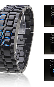 Unisex blaue LED Lava-Art Digital Armbanduhr mit Kunststoffband (schwarz)