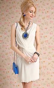 Women's White Dress , Beach/Casual Sleeveless