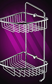Серебро Латунь Треугольная двухслойный Уголок Sorage Корзина с крючками