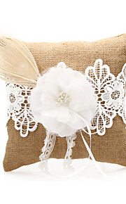 Linen Wedding Ring Pillow with Lace and Flower