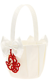 Flower Basket In White Satin With Red Embroidery Flower Girl Basket