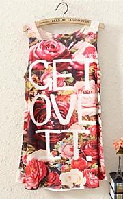 Frauen Ärmelloses Blumen Brief drucken lange Weste