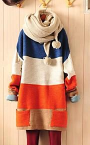 여성의 컬러 블록 블루 / 오렌지 느슨한 스웨터, 캐주얼 긴 소매 포켓