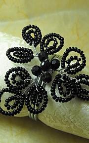 Schwarze Perlen Serviettenring, GlassBeades, 4cm, Set 12,