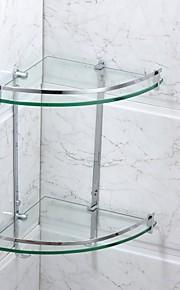 Badezimmer Regal Chrom Wandmontage 25*25*40cm(9.8*9.8*15.8inch) Edelstahl / Glas Modern