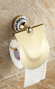 Ceramic Wall Mount Golden Ti-PVD Toilet Roll Holders
