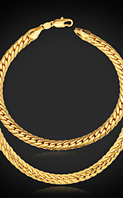 Männer klobigen 18k Gold überzogene Schmucksachen (Necklace& Armband)