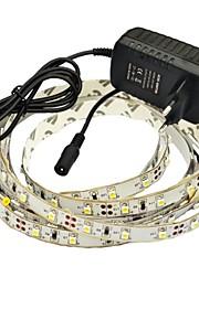 jiawen® 2.5m 10w 150x3528smd 6000-6500k blanc blanc / chaud led Power Strip 2a éclairage flexible + (AC 110-240V)