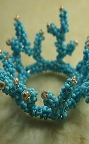 koraal servetring vele tak, glazen kralen, 4,5 cm, set van 12