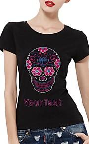personlig rhinestone t-tröjor rosa skallemönster kvinnors bomull korta ärmar
