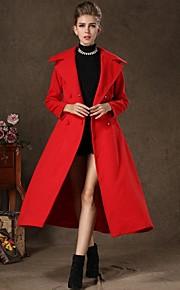 Incern®Women's Big Lapel Collar Woolen Long Overcoat