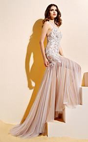 Lanting Bride® Trompette / Sirène Petites Tailles Robe de Mariage  Colorées Traîne Tribunal Licou Dentelle / Tulle avec