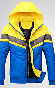 Men's Fashion Casual Contrast Color Thick Cotton-Padded Coat