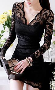 Women's Sexy Lace V-neck Long Sleeve Dress