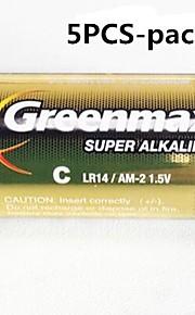 5pcs GREENMAX 1.5V LR14 c-type alkaline batterijen