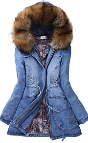 Women's Casual Hooded Thick Cotton Denim Coat