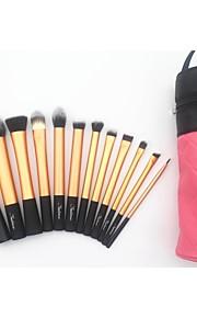 12pcs Professional Makeup Brush Set with Pink Cylinder Bag