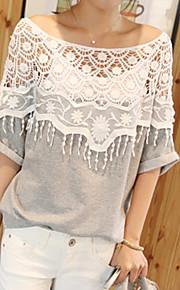 Women's Casual Crochet Cape Collar Batwing Sleeve T-Shirt