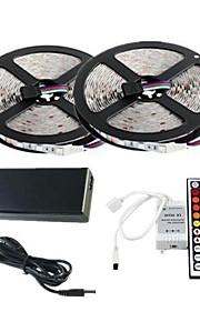vanntett 2 × 5m 300x3528 SMD RGB LED stripe lys og 44key fjernkontroll og 6A oss strømforsyning (ac110-240v)
