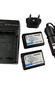 ismartdigi-Sony NP-FW50 x2 (1500mAh, 7.2V) kamera batteri + eu stik + billader til NEX-5t 5R 3n f3 c3 A7 7 A55 A35 a7r