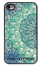 personlig telefon taske - blå lotus design metal tilfældet for iPhone 4 / 4S