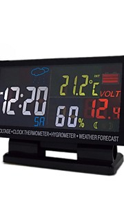 Car Voltage,Clock Thermometer,Hygrometer,Weather Forecast With Color Display Screen