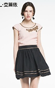 Women's Pink/White Dress , Bodycon/Casual Short Sleeve