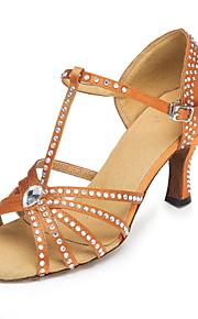 Non Customizable Women's Dance Shoes Ballroom/Latin/Salsa Satin Flared Heel Brown