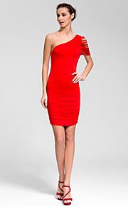Cocktail Party Dress - Ruby/Royal Blue/White/Black Sheath/Column One Shoulder Short/Mini