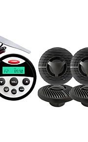 Waterproof Marine Radio Stereo ATV UTV Audio Receiver+ 5.5 Inch White Waterproof Speakers+Radio Antenna