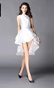 Women's Club Dress,Solid Asymmetrical Sleeveless White / Black Polyester Spring / Summer