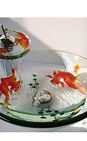 peixinho rodada temperado pia vaso de vidro com torneira em cascata, pop - up de drenagem e anel de montagem