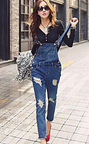 Women's Solid Dark Blue/Light Blue Denim Suspender Jeans Hole