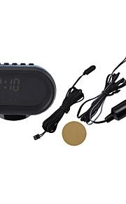 sort multi-fonction bil digitalt ur med termometer og bilindustrien voltmeter / kalender / alarm clock (12-24V)