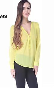 Women's Sexy V-Neck Zipper Chiffon T Shirt Long Sleeve Tops Blouses