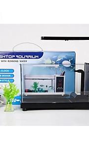 mini alt-i-ett usb-skrivebordet akvariefisk tank med LED lys berøringspenn saken